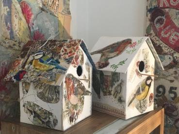 Mixed media bird boxes