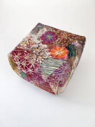 Box with free machine embroidery and collage