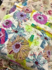 fabric collage with free machine embroidery