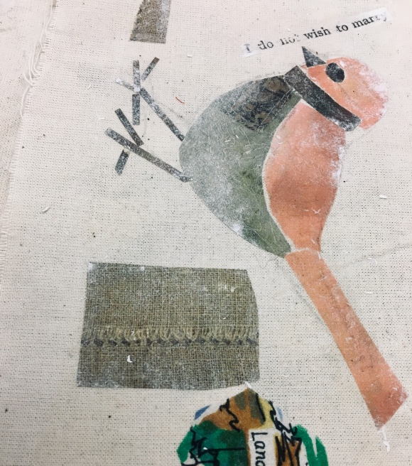 fabric collage with mixed media