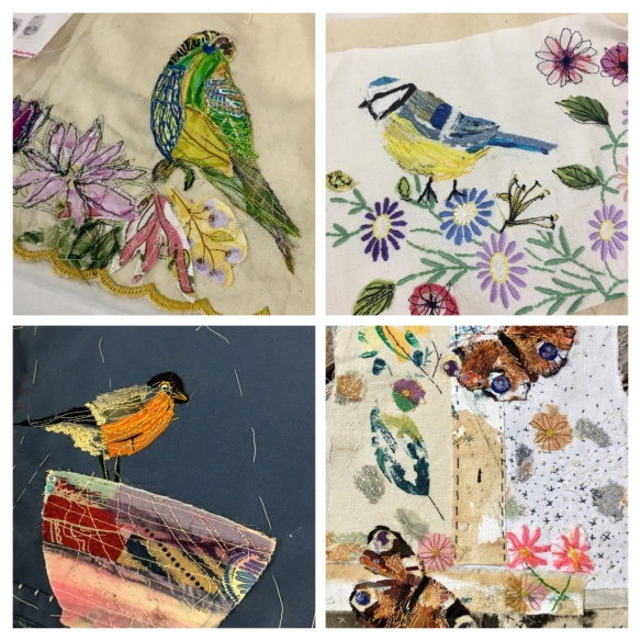 Birds and Animals Workshop. Fabric collage, free machine embroidery on repurposed fabrics.
