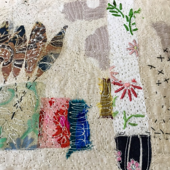 Mixed Media, repurposed fabrics and free machine embroidery